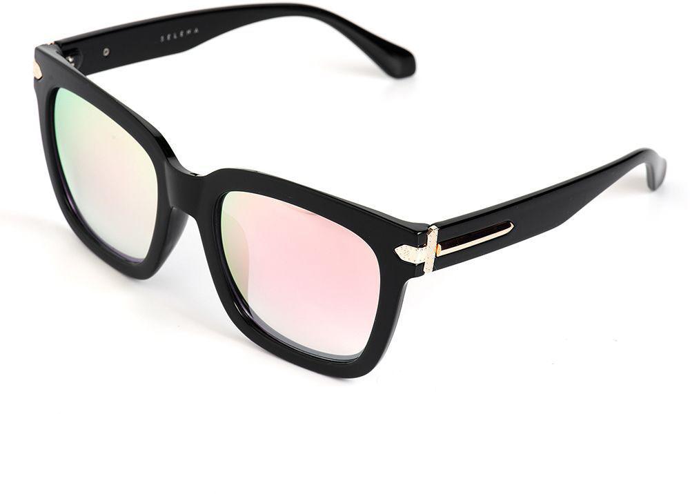 Очки солнцезащитные женские Selena, цвет: розовый, черный. 8003610180036101100% защита от ультрафиолетовых лучей. Размер (ширина линзы*ширина моста-длина дужки) 56*21-135