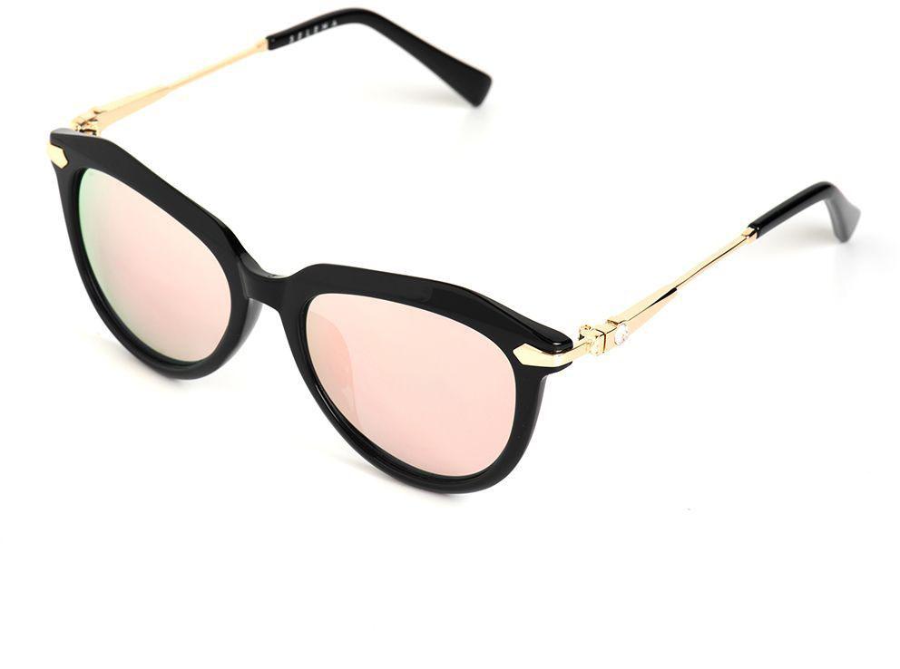 Очки солнцезащитные женские Selena, цвет: золотистый, черный. 8003621180036211100% защита от ультрафиолетовых лучей. Размер (ширина линзы*ширина моста-длина дужки) 50*19-135