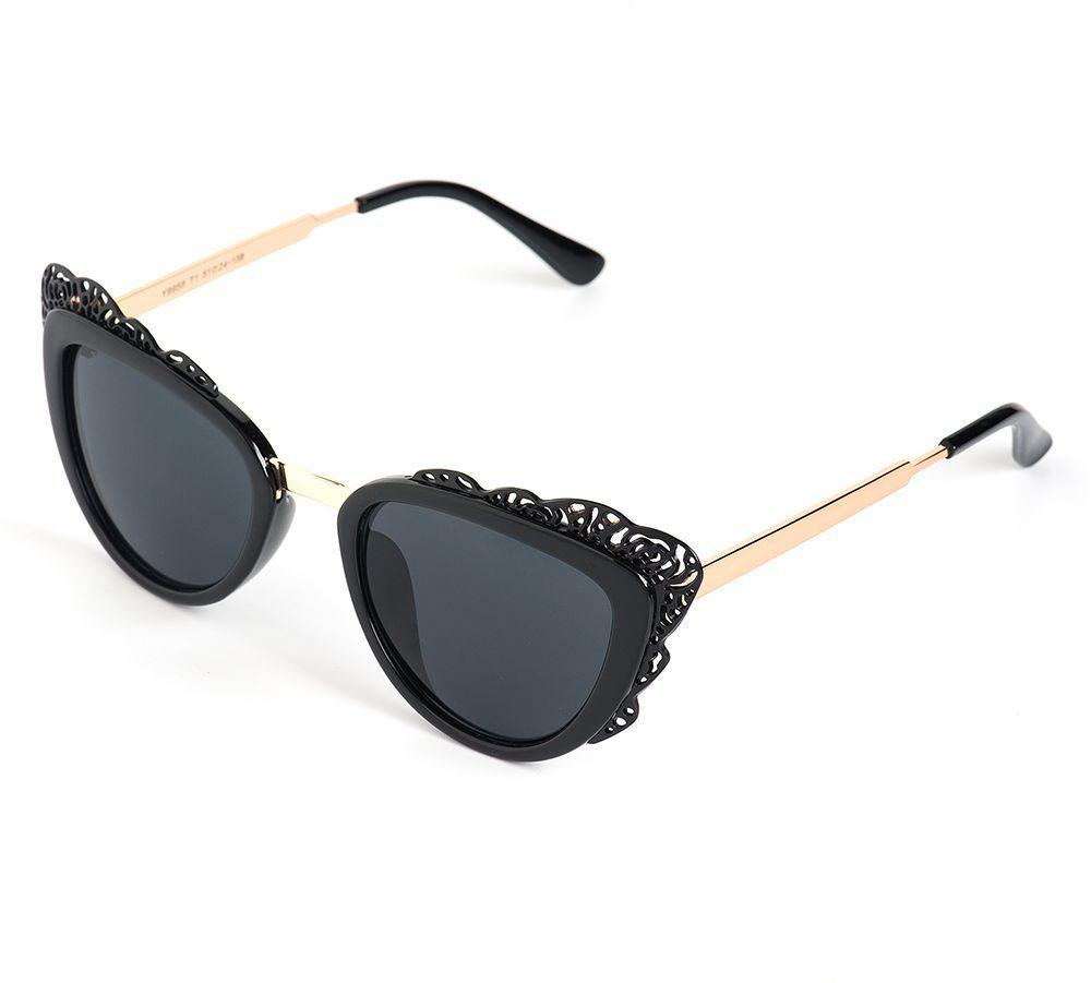 Очки солнцезащитные женские Selena, цвет: золотистый, черный. 8003630180036301100% защита от ультрафиолетовых лучей. Размер (ширина линзы*ширина моста-длина дужки) 51*24-138