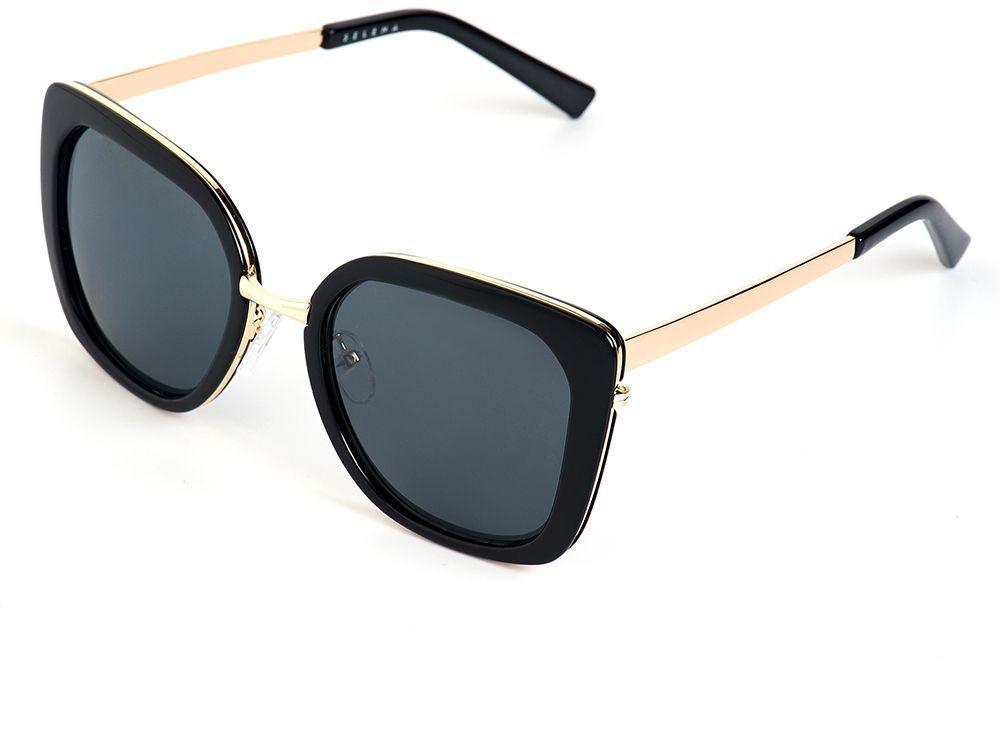 Очки солнцезащитные женские Selena, цвет: золотистый, черный. 8003635180036351100% защита от ультрафиолетовых лучей. Размер (ширина линзы*ширина моста-длина дужки) 54*21-138