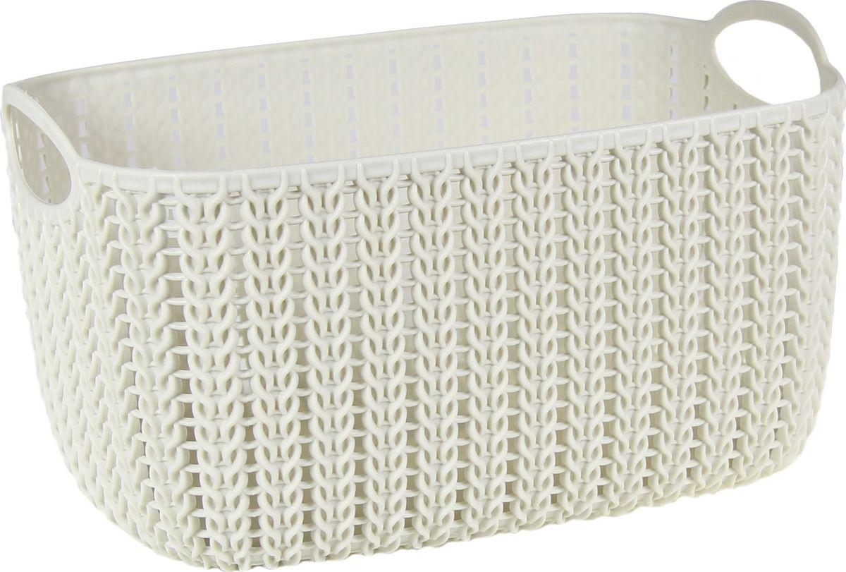 Корзинка Idea Вязание, цвет: белый ротанг, 7 л. М 2381М 2381_белый ротанг