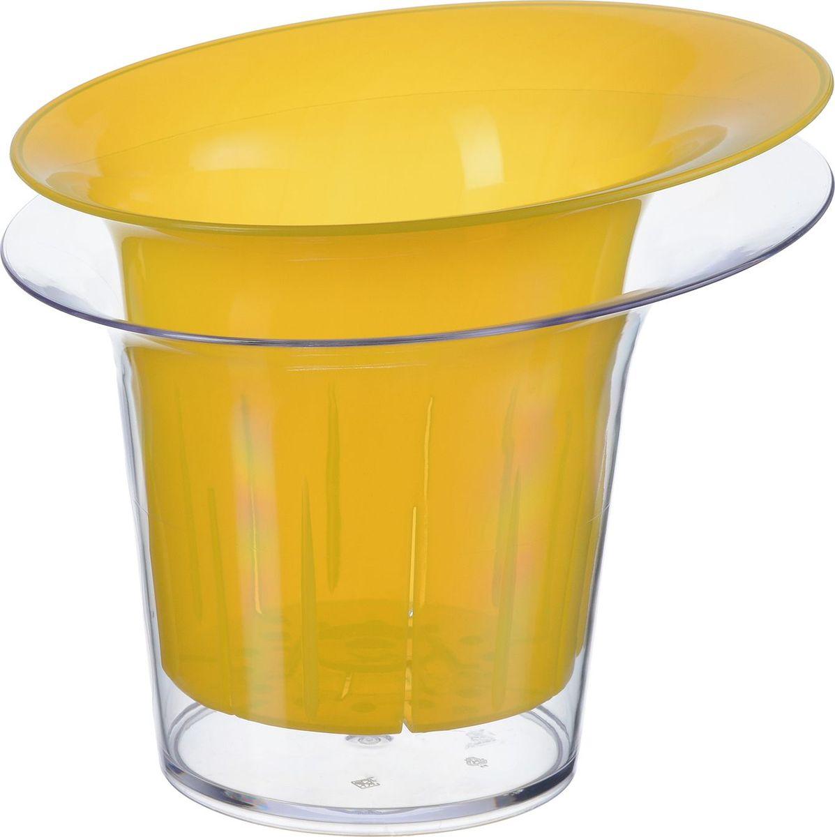 Кашпо для орхидеи Idea Адель, цвет: желтый прозрачный, 1 л. М 3104М 3104_желтый прозрачный