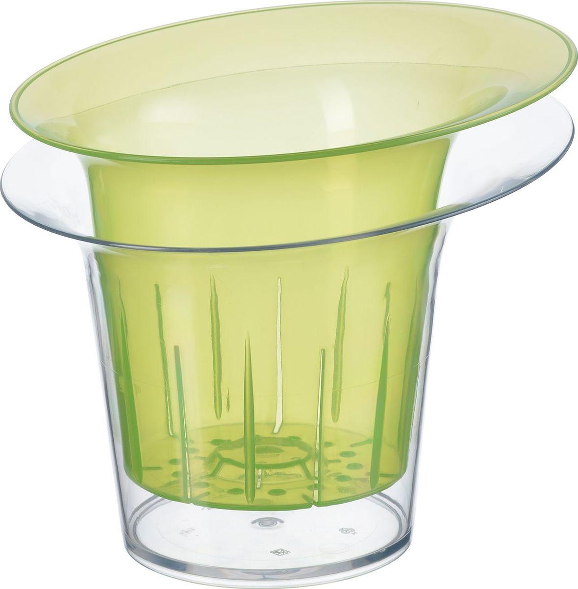 Кашпо для орхидеи Idea Адель, цвет: зеленый прозрачный, 1 л. М 3104М 3104_зеленый прозрачный