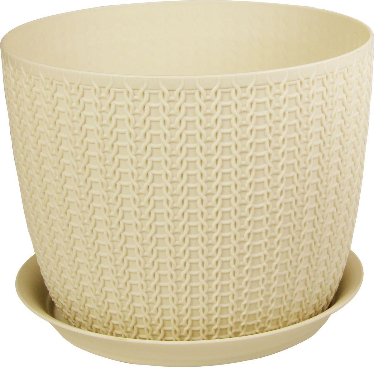 Кашпо Idea Вязание, с поддоном, цвет: белый ротанг, диаметр 13,5 см. М 3119М 3119_белый ротанг