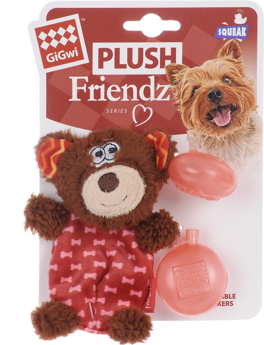 """Игрушка для собак GiGwi """"Мишка"""", с пищалкой, высота 13 см 75303"""