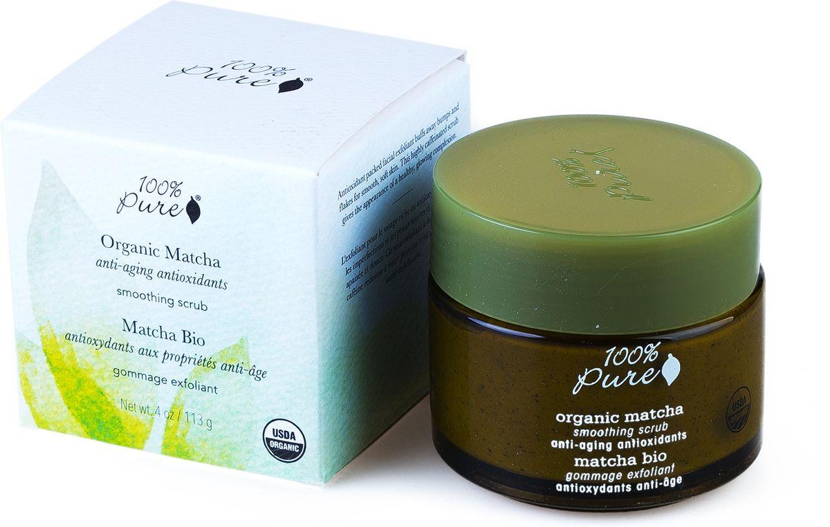 100% Pure Коллекция Зелёный Чай Matcha: органический выравнивающий скраб для лица. 118 мл1FSOMSCМультивитамины и антиоксиданты. Антиоксидантный скраб для лица удаляет ороговевшие частички кожи и трудноудаляемые загрязнения, тем самым делает кожу мягкой, ровной и гладкой. Насыщенный кофеином скраб увеличивает циркуляцию крови для придания Вашей коже здорового и сияющего вида. Сертификация USDA organic.