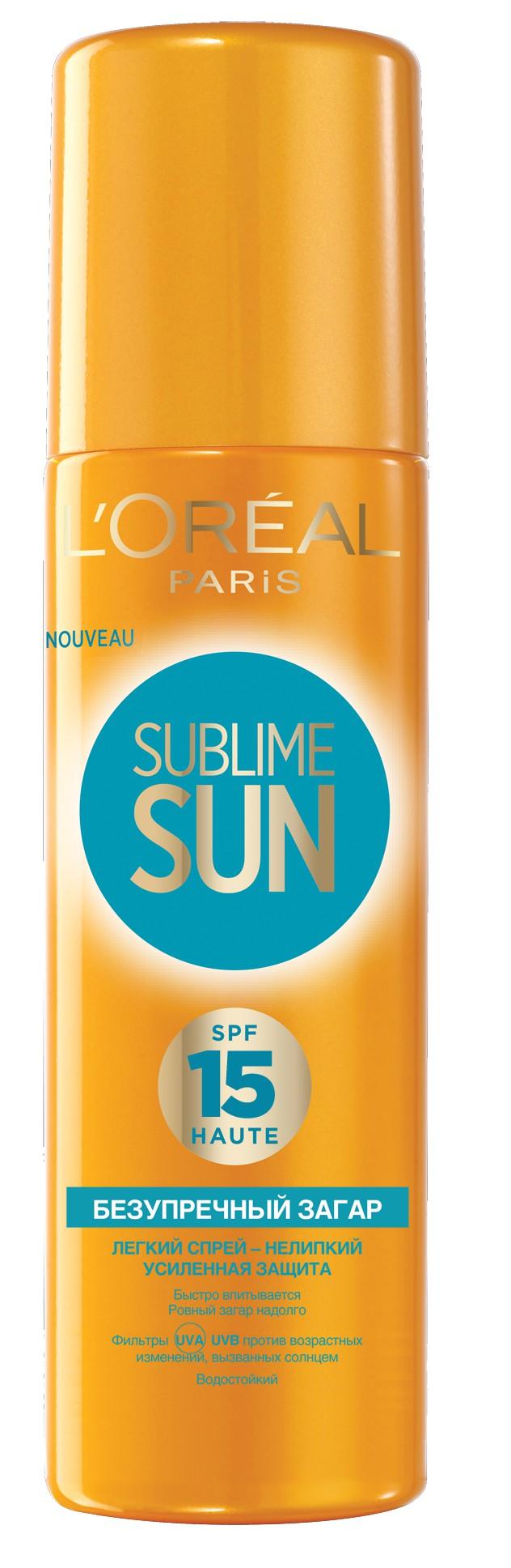 LOreal Paris Sublime Sun Спрей Безупречный загар, солнцезащитный, SPF 15, 200 млA8041213Солнцезащитный спрей LOreal Paris Sublime Sun. Безупречный загар со степенью защиты SPF 15 ухаживает за кожей и обеспечивает золотистый загар надолго. Система фильтров Mexoryl SX/XL и комплекс витаминов, известных своими антиоксидантными свойствами, защищают от негативного воздействия солнца на кожу, в том числе от солнечных ожогов, и предотвращают старение кожи, вызванное солнцем. Спрей распыляется на кожу, оставляя на ней ощущение невероятной легкости без эффекта жирной или липкой пленки. Комплекс SkinElixir активирует меланин для золотистого, сияющего загара.