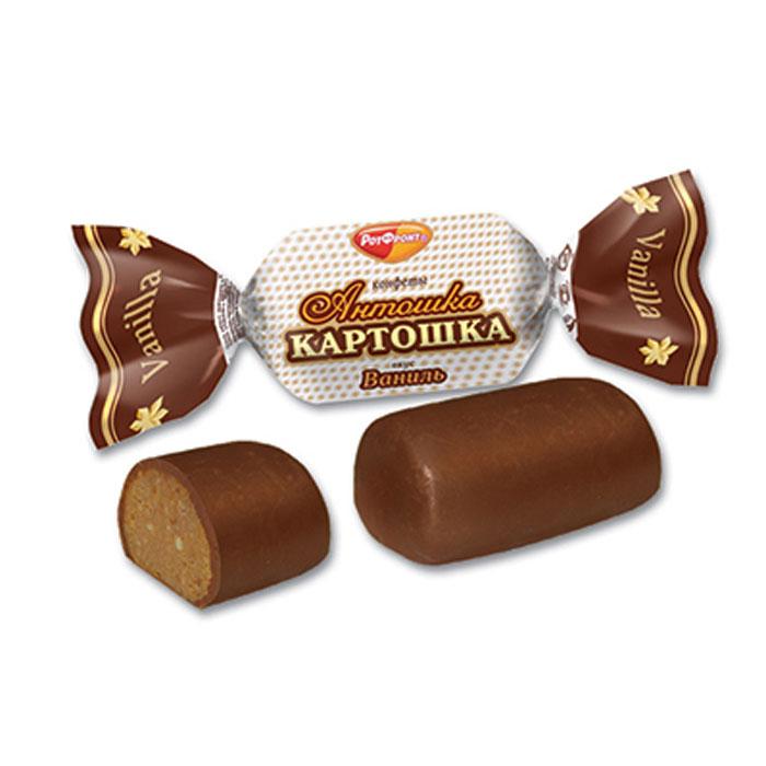 Рот Фронт Антошка картошка конфеты вкус ваниль, 250 г (Тамбов)РФ12240Пралиновые конфеты по мотивам пирожного Картошка.