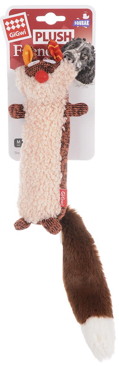 """Игрушка для собак GiGwi """"Лиса"""", с пищалкой, цвет: оранжевый, коричневый, бежевый, длина 37 см 75368"""