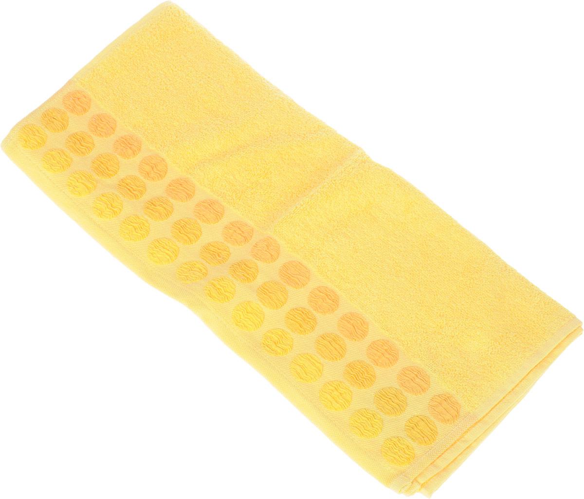 Полотенце Brielle Point, цвет: желтый, 50 х 90 см1207Полотенца ТАС Приятно удивляют и дают возможность почувствовать себя творцом окружающего декора. Махровая ткань – официальное название «фроте», народное – «махра». Фроте – это натуральная ткань, поверхность которой состоит из ворса (петель основных нитей). Ворс может быть как одинарным (односторонним), так и двойным (двусторонним).