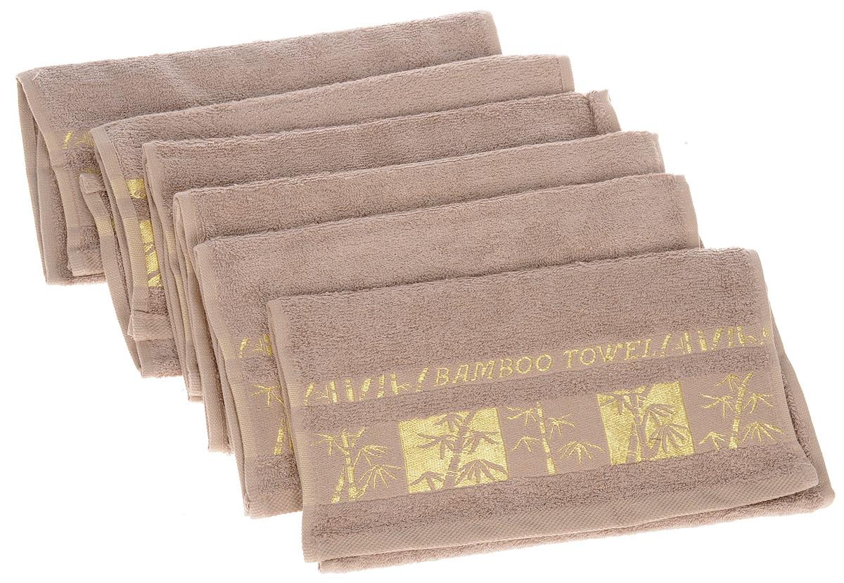 Набор полотенец Brielle Bamboo Gold, цвет: мокко, 30 х 50 см, 6 шт1211Набор Brielle Bamboo Gold состоит из шести полотенец, выполненных на 70% из бамбука и на 30% из хлопка. Изделия отлично впитывают влагу, быстро сохнут, сохраняют яркость цвета и не теряют формы даже после многократных стирок. Полотенца Brielle Bamboo Gold очень практичны и неприхотливы в уходе. Такой набор послужит приятным подарком.