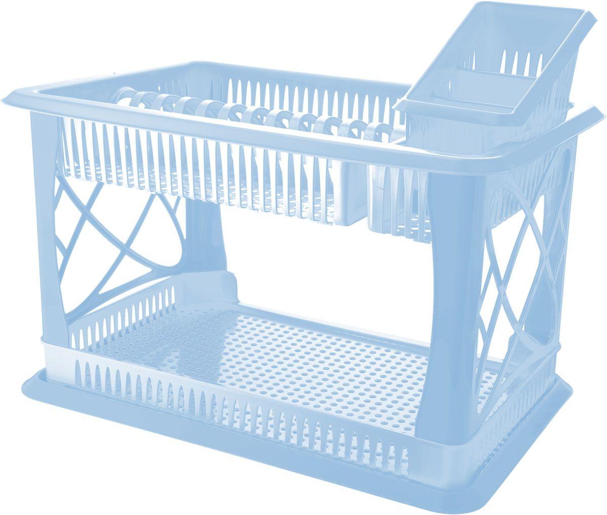 Сушилка для посуды Plastic Centre Лилия, 2-ярусная, с поддоном, с сушилкой для столовых приборов, цвет: голубой, 49 х 17,5 х 32,5 смПЦ1558МРДвухъярусная сушилка для посуды выполнена из пластика. Изделие оснащено поддоном для стекания воды и подставкой для столовых приборов и стаканов. Сушилка может быть установлена как на столе, так и подвешена на стену при помощи крючков (не входят в комплект). Размер сушилки (с учетом подставок): 49 х 17,5 х 32,5 см. Размер поддона: 47 х 30 х 2,5 см.