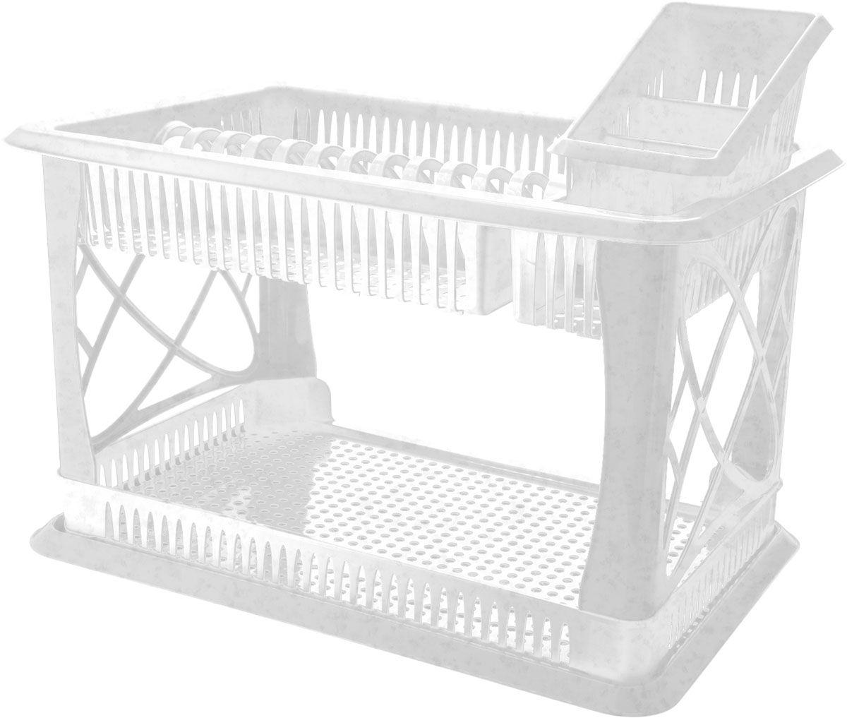 Сушилка для посуды Plastic Centre Лилия, 2-ярусная, с поддоном, с сушилкой для столовых приборов, цвет: мраморный, 49 х 17,5 х 32,5 смПЦ1558ГЛПДвухъярусная сушилка для посуды выполнена из пластика. Изделие оснащено поддоном для стекания воды и подставкой для столовых приборов и стаканов. Сушилка может быть установлена как на столе, так и подвешена на стену при помощи крючков (не входят в комплект). Размер сушилки (с учетом подставок): 49 х 17,5 х 32,5 см. Размер поддона: 47 х 30 х 2,5 см.