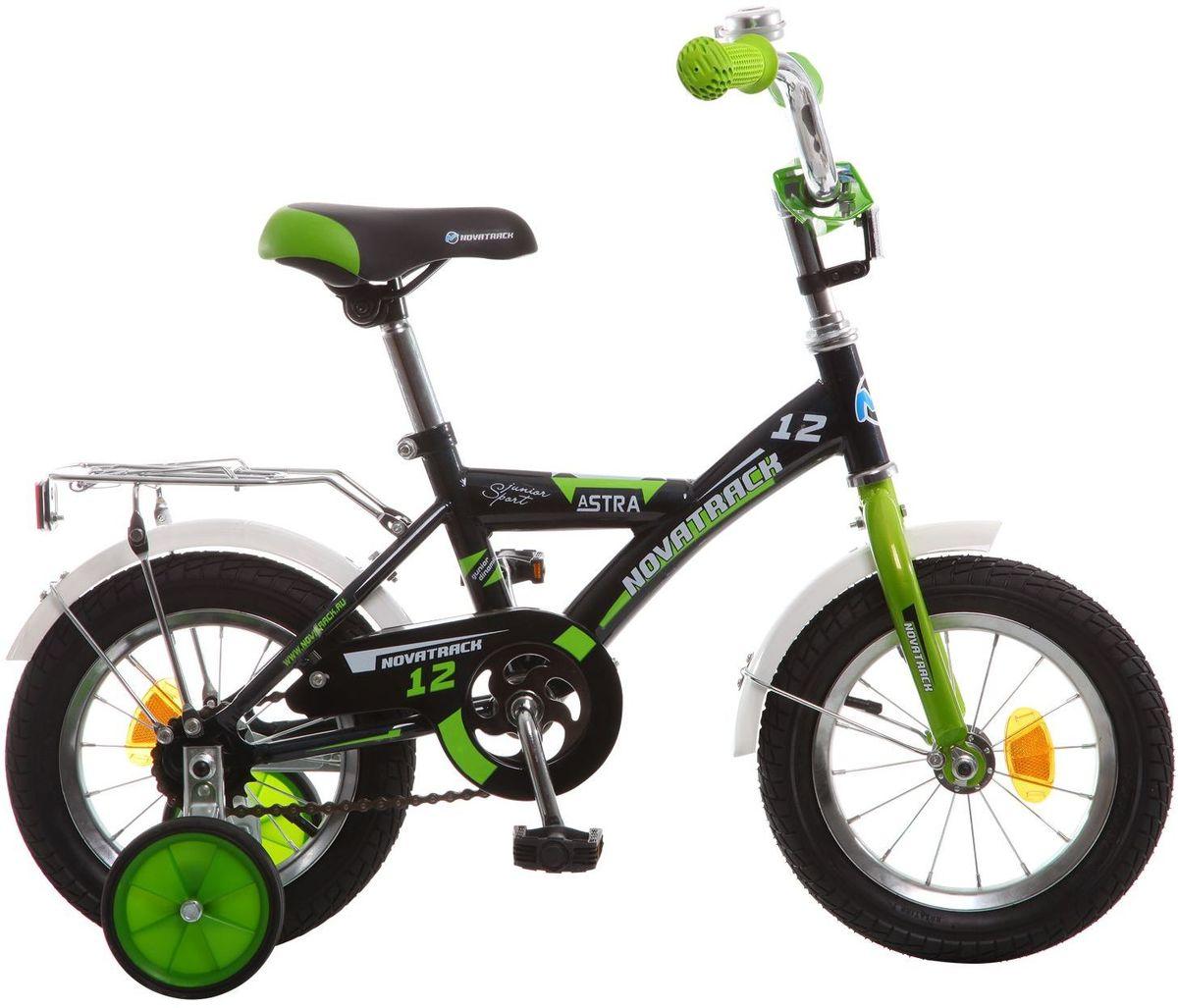Велосипед детский Novatrack Astra, цвет: черный, 12123ASTRA.BK5Хотите, чтобы ваш ребенок играя укреплял здоровье? Тогда ему нужен удобный и надежный велосипед Novatrack Astra 12'', рассчитанный на малышей 2-4 лет. Одного взгляда малыша хватит, чтобы раз и навсегда влюбиться в свой новенький двухколесный транспорт, который в принципе, сначала можно назвать и четырехколесным. Дополнительную устойчивость железному «коню» обеспечивают два маленьких съемных колеса в цвет велосипеда. Велосипед собран на базе рамы с универсальной геометрией, которая позволяет легко взобраться или слезть с велосипеда, при этом велосипед имеет такой вес, что маленький ребенок сам легко справляется со своим транспортным средством. Так как велосипед предназначен для самых маленьких, предусмотрен ограничитель поворота руля, который не позволит сильно завернуть руль и упасть. Еще один элемент безопасности – это защита цепи, которая оберегает одежду и ноги малыша от попадания в механизм. Стильные крылья защитят от грязи и брызг, а на багажнике ребенок сможет перевозить массу...