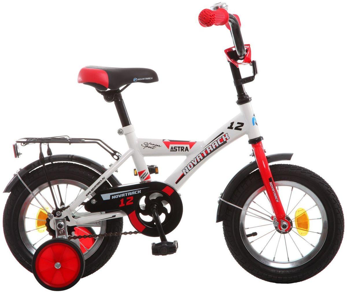 Велосипед детский Novatrack Astra, цвет: белый, 12123ASTRA.WT5Хотите, чтобы ваш ребенок играя укреплял здоровье? Тогда ему нужен удобный и надежный велосипед Novatrack Astra 12'', рассчитанный на малышей 2-4 лет. Одного взгляда малыша хватит, чтобы раз и навсегда влюбиться в свой новенький двухколесный транспорт, который в принципе, сначала можно назвать и четырехколесным. Дополнительную устойчивость железному «коню» обеспечивают два маленьких съемных колеса в цвет велосипеда. Велосипед собран на базе рамы с универсальной геометрией, которая позволяет легко взобраться или слезть с велосипеда, при этом велосипед имеет такой вес, что маленький ребенок сам легко справляется со своим транспортным средством. Так как велосипед предназначен для самых маленьких, предусмотрен ограничитель поворота руля, который не позволит сильно завернуть руль и упасть. Еще один элемент безопасности – это защита цепи, которая оберегает одежду и ноги малыша от попадания в механизм. Стильные крылья защитят от грязи и брызг, а на багажнике ребенок сможет перевозить массу...