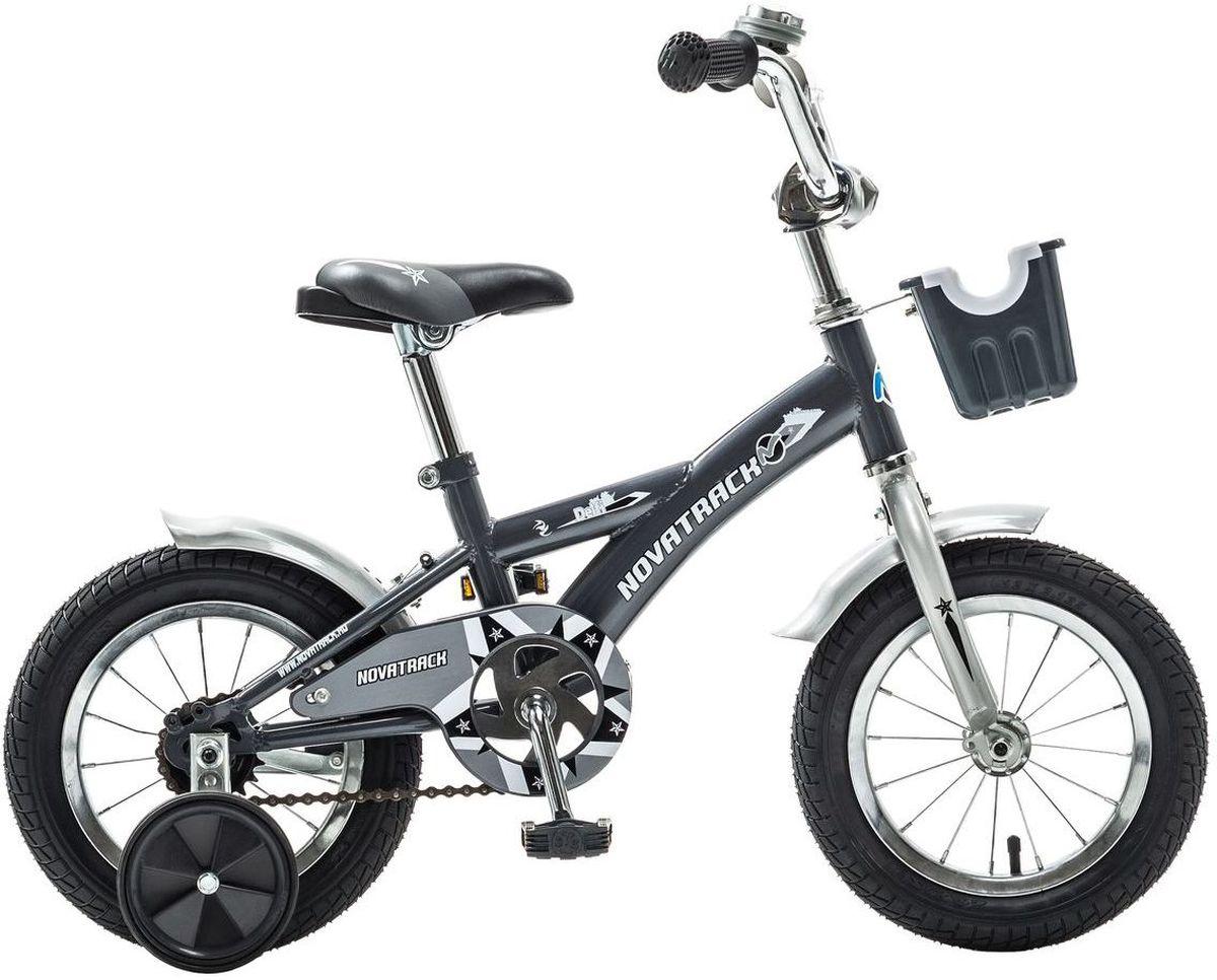 Велосипед детский Novatrack Delfi, цвет: серый, 12124DELFI.GR5Велосипед Novatrack Delfi c 12-дюймовыми колесами – это надежный велосипед для ребят от 2 до 4 лет. Привлекательный дизайн, надежная сборка, легкость и отличная управляемость – это еще не все плюсы данной модели. Велосипед Delfi снабжен ограничителем поворота руля, который не позволит ребенку слишком сильно вывернуть переднее колесо велосипеда, и тем самым предотвратит падения. Цепь закрыта декоративной накладкой, которая защитит одежду и ноги ребенка от попадания в механизм. Данная модель специально разработана для легкого обучения езде на велосипеде. Низкая рама позволит ребенку быстро взбираться и слезать с велосипеда. Колеса закрыты крыльями, которые защитят ребенка от брызг, а на руле располагается вместительная корзинка для перевозки самых необходимых в дороге предметов.