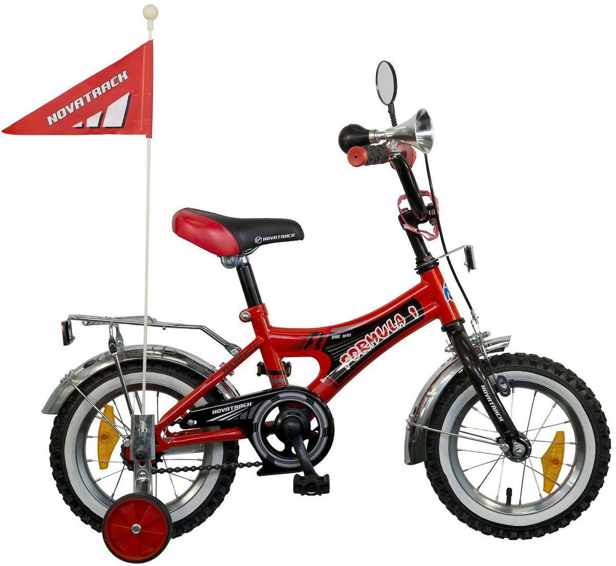 Велосипед детский Novatrack Формула, цвет: красный, 12125FORMULA.RD5Велосипед Формула 1 со стальной универсальной рамой, имеет размер колеса 12. Предназначен для детей в возрасте от 3 до 5 лет. Тип рамы удобный как для мальчиков, так и для девочек; Интегрированный ограничитель руля, гарантирующий безопасность; Цвет : красный-черный; Надувные колеса с ниппелем под автомобильный насос; Модель имеет хромированные обода, крылья, багажник; а также цветные рукоятки руля (рукоятки руля черные из мягкой резины); Тормоза: задняя тормозная втулка и передний тормоз клещевого типа ; Широкие поддерживающие колеса с резиновой внешней частью, усиленные кронштейны; Модель оснащена однокомпонентными шатунами; Высокий руль для более комфортной посадки; Наличие 4-х отражателей : передний, задний и 2 шт. на колесах; Защита цепи; Модель оснащена сигнальным гудком, зеркалом и флажком.