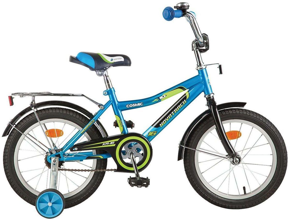 Велосипед детский Novatrack Cosmic, цвет: синий, 14143COSMIC.BL7Велосипед Novatrack Cosmic 14'' – это абсолютно необходимая вещь для детей 3-5 лет. В этом возрасте у ребят очень большой уровень энергии, которую необходимо выплескивать с пользой для организма, да и кто же по доброй воле откажется от велосипеда, тем более такого, как Cosmic! Велосипед полностью укомплектован и обязательно понравится маленькому велосипедисту. Рама у велосипеда – стальная и очень прочная. Сиденье и руль регулируются по высоте и надежно фиксируются. Ножной задний тормоз не подведет ни на спуске, ни при экстренном торможении. В целях безопасности велосипед оснащен ограничителем руля, который убережет велосипед от опрокидывания при резком повороте. Дополнительную устойчивость железному «коню» обеспечивают два маленьких съемных колеса в цвет велосипеда. Не останутся незамеченными накладка на руль, яркие отражатели-катафоты, стильный звонок, защитный кожух для цепи, хромированный багажник, а также крылья, которые защитят от грязи и брызг.