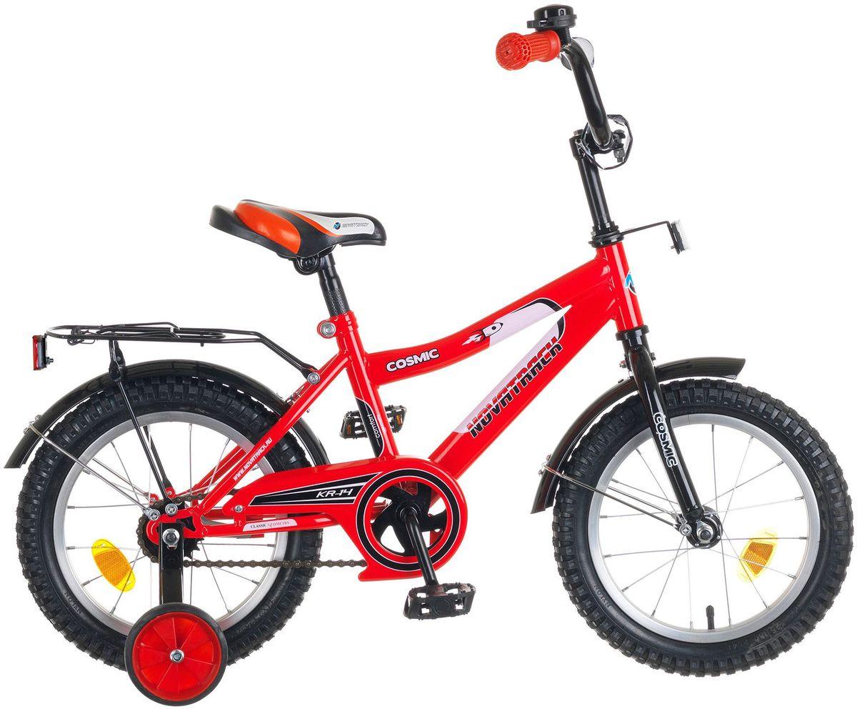 Велосипед детский Novatrack Cosmic, цвет: красный, 14143COSMIC.RD5Велосипед Novatrack Cosmic 14'' – это абсолютно необходимая вещь для детей 3-5 лет. В этом возрасте у ребят очень большой уровень энергии, которую необходимо выплескивать с пользой для организма, да и кто же по доброй воле откажется от велосипеда, тем более такого, как Cosmic! Велосипед полностью укомплектован и обязательно понравится маленькому велосипедисту. Рама у велосипеда – стальная и очень прочная. Сиденье и руль регулируются по высоте и надежно фиксируются. Ножной задний тормоз не подведет ни на спуске, ни при экстренном торможении. В целях безопасности велосипед оснащен ограничителем руля, который убережет велосипед от опрокидывания при резком повороте. Дополнительную устойчивость железному «коню» обеспечивают два маленьких съемных колеса в цвет велосипеда. Не останутся незамеченными накладка на руль, яркие отражатели-катафоты, стильный звонок, защитный кожух для цепи, хромированный багажник, а также крылья, которые защитят от грязи и брызг.