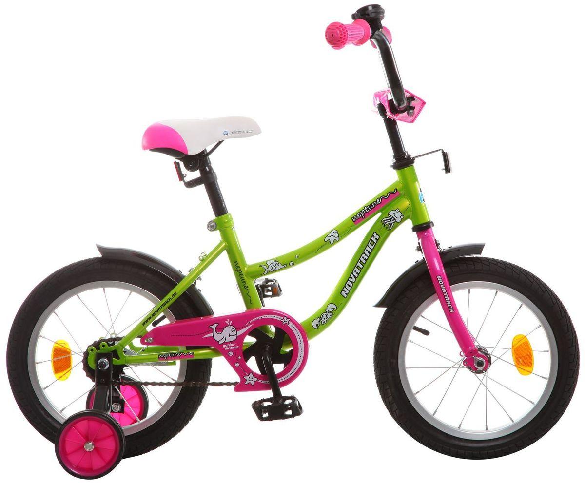 Велосипед детский Novatrack Neptune, цвет: зеленый, 14143NEPTUN.GN5Если вам нужен качественный, надежный и оптимальный по цене велосипед для ребенка, то это, конечно - Novatrack Neptun 14'', который рассчитан на детей 3-5 лет. Достаточно только взглянуть на эту модель, чтобы понять, насколько удобно и безопасно будет чувствовать себя ваш сын или дочка. Да-да, этот велосипед прекрасно подойдет и мальчику, и девочке. Это детское двухколесное транспортное средство прекрасно управляется даже самыми неопытными велосипедистами. В частности, модель снабжена ограничителем поворота руля, что не позволит ребенку слишком сильно вывернуть переднее колесо велосипеда и упасть. Установлены дополнительные опции: защита цепи, стильные укороченные крылья, мягкие накладки, которые служат еще и элементом дизайна, громкий звонок и катафоты.