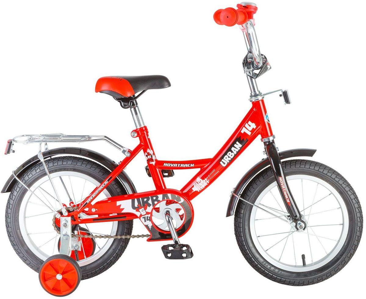 Велосипед детский Novatrack Urban, цвет: красный, 14143URBAN.RD6Велосипед Novatrack Urban c 14-дюймовыми колесами это надежный велосипед для ребят 3-5 лет. Высокое качество сборки гарантирует, что велосипед прослужит долго, даже если ваш ребенок будет гонять на нем ежедневно по несколько часов подряд. Велосипед оснащен защитой цепи, которая не позволит ногам и одежде попасть в мезанизм. Еще одно средство, способствующее безопасному вождению велосипеда в любых дорожных условиях ограничитель поворота руля. который не позволит маленькому велосипедисту слишком сильно повернуть руль и таким образом создать себе все условия для неминуемого падения. Да и учиться ездить с таким приспособлением гораздо удобнее, ведь руль не крутится вокруг своей оси, а значит, и двигаться велосипед будет аккуратно и всегда именно туда, куда нужно. Велосипед оборудован багажником обязательным атрибутом любого детского велосипеда, ведь как же еще перевозить свои игрушки и другие нужные мелочи во время прогулок Для безопасности установлено целых 4 светоотражателя задний,...