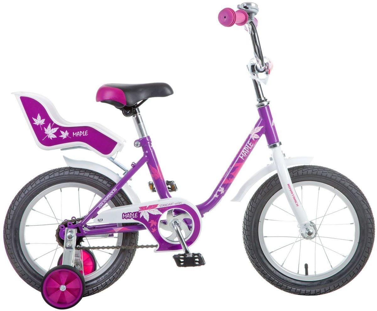 Велосипед детский Novatrack Maple, цвет: сиреневый, 14144MAPLE.PR7Novatrack Maple 14'' – это надежный велосипед для девочек 3-5 лет, на котором очень легко начинать обучение езде на велосипеде, и который обязательно станет предметом гордости маленькой леди. Регулируемые сидение и руль легко подстраиваются под рост ребенка. Маленькие дополнительные колеса легко снимаются Отличительная особенность велосипеда – это сидение для куклы, ведь как можно не взять с собой подругу на велопрогулку? Велосипед оснащен ножным тормозом, которым ребенку легко пользоваться, защитой цепи, которая убережет нижнюю часть одежды от попадания в механизм. Для того, чтобы привлечь внимание прохожих, на руль установлен красивый и блестящий звоночек, который оповестит зевак об обгоне.