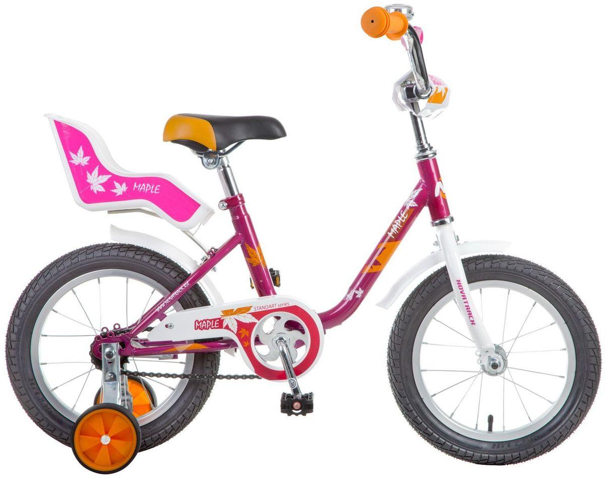 Велосипед детский Novatrack Maple, цвет: красный, 14144MAPLE.RD7Novatrack Maple 14'' – это надежный велосипед для девочек 3-5 лет, на котором очень легко начинать обучение езде на велосипеде, и который обязательно станет предметом гордости маленькой леди. Регулируемые сидение и руль легко подстраиваются под рост ребенка. Маленькие дополнительные колеса легко снимаются Отличительная особенность велосипеда – это сидение для куклы, ведь как можно не взять с собой подругу на велопрогулку? Велосипед оснащен ножным тормозом, которым ребенку легко пользоваться, защитой цепи, которая убережет нижнюю часть одежды от попадания в механизм. Для того, чтобы привлечь внимание прохожих, на руль установлен красивый и блестящий звоночек, который оповестит зевак об обгоне.