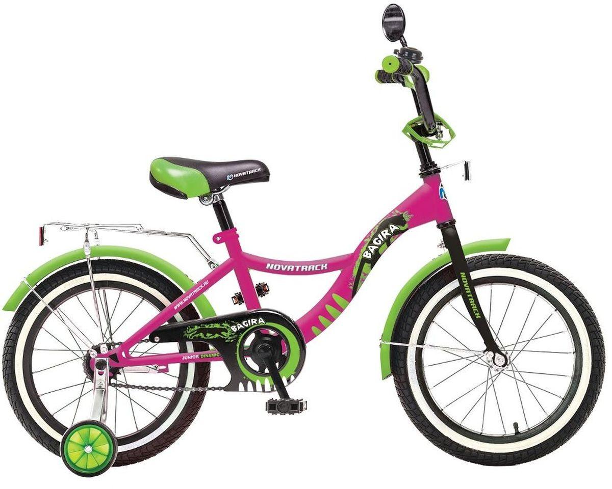 Велосипед детский Novatrack Багира, цвет: розовый, 20207BAGIRA.PN6Велосипед Novatrack Bagira 20-дюймовыми колесами это современный, удобный и безопасный велосипед для девочек от 7 до 10 лет. Велосипед укомплектовали мягким регулируемым седлом, которое беспечит удобную посадку во время катания. Руль велосипеда также регулируется по высоте и наклону, благодаря чему велосипед прослужит ребенку не один год. Данная модель маневренна и легка в управлении, поэтому ребенку будет просто и интересно учиться кататься на велосипеде. По бокам имеются съемные дополнительные колеса, которые нужны до тех пор, пока ребенок не почувствует себя уверенно. Быстро затормозить поможет ножной тормоз. Для перевозки девчачих аксессуаров и всяких нужностей велосипед оснастили багажником. На руле установлен звонкий гудок и зеркальце, без которого не может обойтись ни одна модница. Над колесами располагаются хромированные крылья, которые защитят от брызг и грязи.