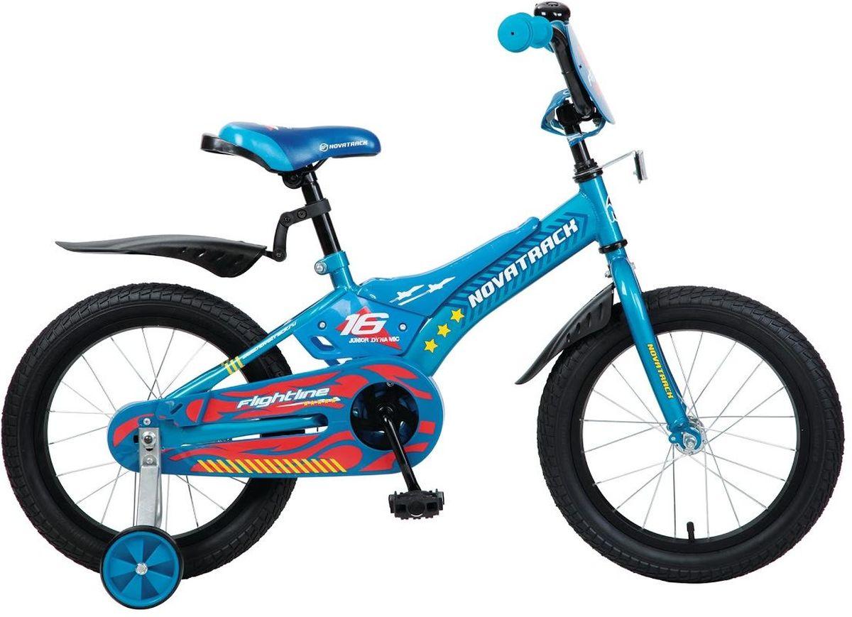 Велосипед детский Novatrack Flightline, цвет: синий, 20207FLIGHTLINE.BL6Велосипед Novatrack Flightline 20- это настоящая мечта для мальчика 7-10 лет. Дизайнерам пришлось изрядно потрудиться ведь оценивать их творение будет самое непредвзятое жюри. Что бы там не думали взрослые, а именно сверстники являются истинными знатоками, способными оценить все достоинства и преимущества нового транспорта. Стильная рама с декоративными пластиковыми накладками, защитный кожух, который полностью закрывает цепь и отвечает не только за безопасность, но и служит важным элементом дизайна. Велосипед оснащен ножным тормозом, которым очень легко пользоваться. Из дополнительной оснастки стоит отметить катафоты они служат для безопасности юного велосипедиста, защитные крылья, боковые съемные колеса и красивый декоративный щиток на руле.