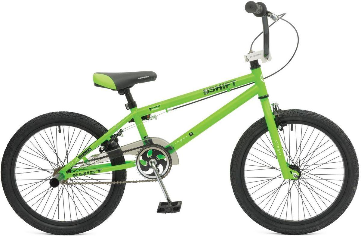 Велосипед Stinger BMX Graffiti, цвет: зеленый, 2020BMX.SHIFT.10GN5BMX GRAFFITI - это велосипед предназначенный для выполнения трюков. Его заниженная рама на основе прочной стали и жесткая вилка формируют надежную конструкцию для катания в различных стилях: стрит, парк, флетленд и других. Данная модель оснащена надежными тормозами V-brake и поддерживает возможность крепления пегов. BMX GRAFFITI отличается своей долговечностью, простотой в обслуживании и универсальностью.