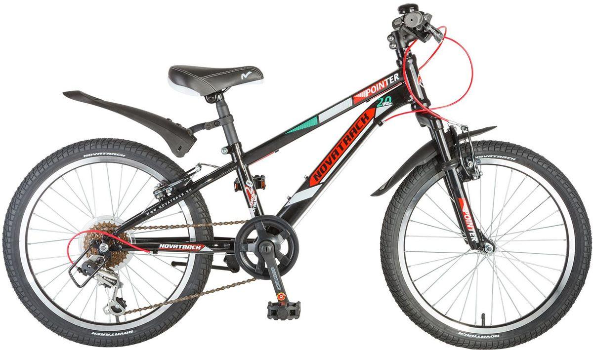 Велосипед детский Novatrack Pointer, цвет: черный, 2020SH6V.POINTER.BK7Велосипед Novatrack Pointer 20'' – это велосипед для ребят 7-10 лет, который станет предметом гордости юного велогонщика, ведь на нем можно переключать скорости и тормозить передним и задним тормозом. Вилка велосипеда оснащена амортизаторами, которые превращают велосипед в настоящий байк как у «взрослых». Переключение передач осуществляется задним переключателем, который, для надежности, закрыт металлической защитой. Высота сидения и руля регулируются под рост ребенка, благодаря чему велосипед прослужит не один год. Pointer 20'' предназначен для активной езды и готов к любым испытаниям на детской площадке, в парке и других местах, пригодных для катания.