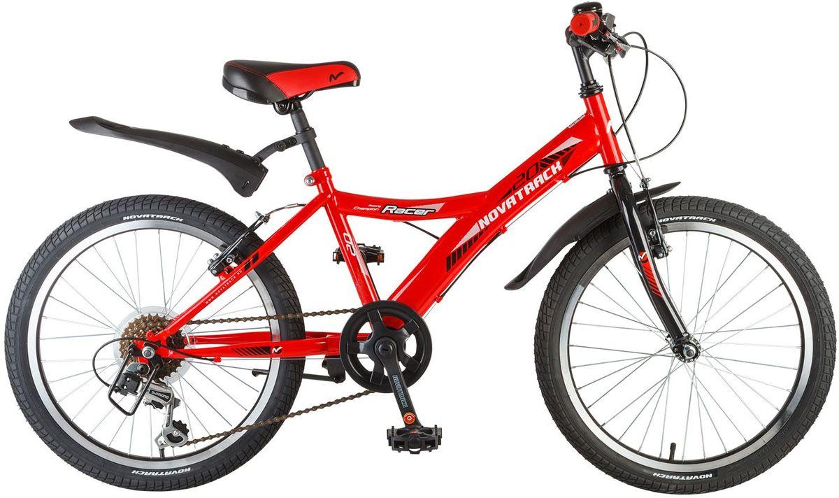 Велосипед детский Novatrack Racer, цвет: красный, 2020SH6V.RACER.RD7Велосипед Novatrack Racer 20'' – это один из лучших велосипедов для ребят 7-10 лет. Привлекательный дизайн, надежная сборка, легкость и отличная управляемость – это еще не все плюсы данной модели. Низкая рама разработана таким образом, что ребенку очень легко взбираться и слезать с велосипеда, да и спрыгивать тоже, в случае непредвиденных обстоятельств во время катания. Велосипед полностью укомплектован и обязательно понравится маленькому велосипедисту: тормоза типа V-brake, переключение скоростей, а их, между прочим, целых 6, багажник для перевозки небольших грузов, блестящие катафоты, агрессивные пластиковые крылья.