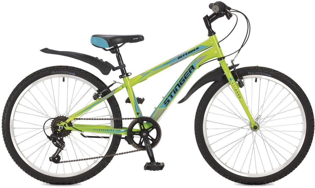 Велосипед горный Stinger Defender, цвет: зеленый, 2424SHV.DEFEND.12GN7Велосипед Stinger Defender - надежный и простой хардтейл для активного катания. Неприхотливый в обслуживании, великолепный в управлении и отлично подойдет для велопрогулок в парковой зоне. А благодаря оптимально спроектированной конструкции обеспечит комфортную езду на дальние расстояния. Жесткая конструкция вилки позволяет эффективно использовать энергию педалирования, обеспечивая лучший разгон. 6-скоростная трансмиссия Shimano Tourney гарантирует четкую и гладкую работу во время активной езды.