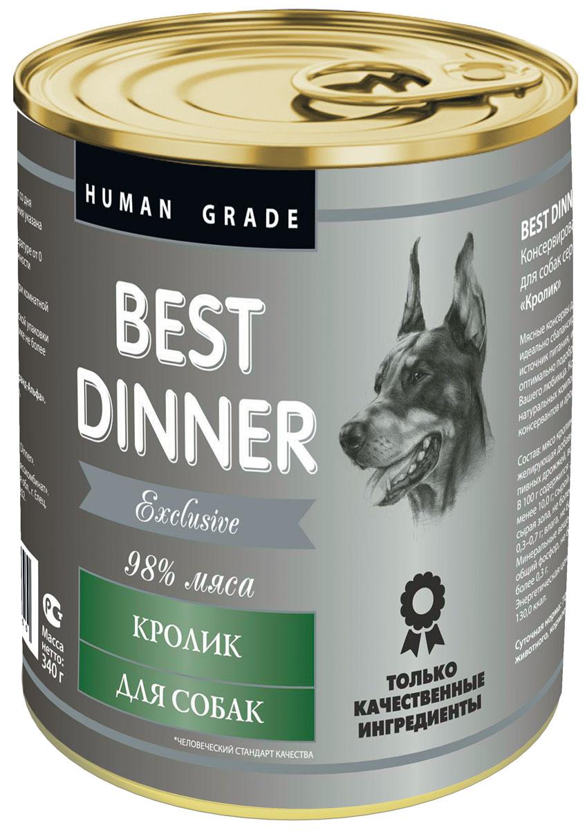 Консервы для собак Best Dinner Эксклюзив, с кроликом, 340 г74021Мясные консервы для собак Best Dinner – идеально сбалансированный, полноценный источник питания, ингредиенты которого оптимально подобраны исходя из нужд Вашего любимца. Корм изготовлен из натуральных компонентов без красителей, консервантов и ароматизаторов. Состав: мясо кролика, масло подсолнечное, желирующая добавка, соль, автолизат пивных дрожжей, вода питьевая. В 100 г содержится: сырой протеин, не менее 10,0 г; сырой жир, не более 10,0 г; сырая зола, не более 2,0 г; поваренная соль 0,3–0,7 г; влага, не более 85 %. Минеральные вещества в 100 г продукта: общий фосфор, не более 0,5 г; кальций, не более 0,3 г. Энергетическая ценность 100 г продукта: 130,0 ккал. Условия хранения: при температуре от 0 до 25 °C и относительной влажности воздуха не более 75 %. Рекомендуется употреблять при комнатной температуре. После вскрытия потребительской упаковки продукт хранить в холодильнике не более 2 суток. Суточная норма: 70–90 г на 1 кг веса животного,...