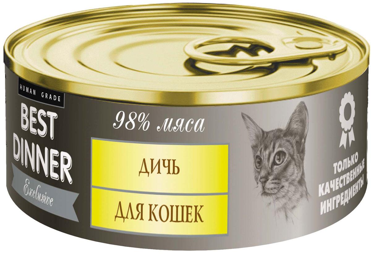 Консервы для кошек Best Dinner Эксклюзив, с дичью, 100 г74052Мясные консервы для кошек Best Dinner – продукты наивысшего качества, обладают изысканным вкусом, сбалансированным составом для правильного питания и здоровой жизни кошки. Изготовлены только из натуральных компонентов без искусственных красителей, консервантов и ароматизаторов. Состав: мясо перепелиное, мясо утки, масло подсолнечное, желирующая добавка, таурин, соль, автолизат пивных дрожжей, вода питьевая. В 100 г содержится: сырой протеин, не менее 10,5 г; сырой жир, не более 12,5 г; сырая зола, не более 2,0 г; таурин 0,2 г; поваренная соль 0,3–0,7 г; влага, не более 85 %. Минеральные вещества в 100 г продукта: общий фосфор, не более 0,5 г; кальций, не более 0,3 г. Энергетическая ценность 100 г продукта: 154,5 ккал. Условия хранения: при температуре от 0 до 25 °C и относительной влажности воздуха не более 75 %. Рекомендуется употреблять при комнатной температуре. После вскрытия потребительской упаковки продукт хранить в холодильнике не более 2 суток....