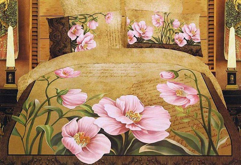Комплект белья МарТекс Розовый Мак, 1,5-спальный, наволочки 50х70. 01-0036-101-0036-1
