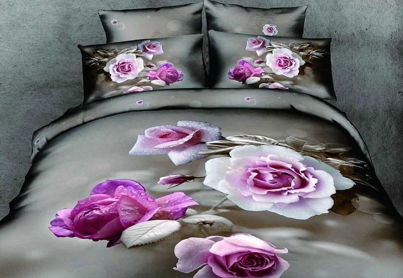 Комплект белья МарТекс Роза, 1,5-спальный, наволочки 50х70. 01-0082-101-0082-1