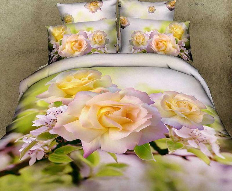 Комплект белья МарТекс Роза, 1,5-спальный, наволочки 50х70. 01-0084-101-0084-1