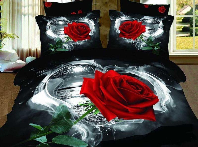 Комплект белья МарТекс Роза, 1,5-спальный, наволочки 50х70. 01-0129-101-0129-1