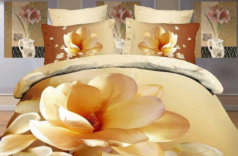 Комплект белья МарТекс Цветок, 1,5-спальный, наволочки 50х70. 01-0131-101-0131-1