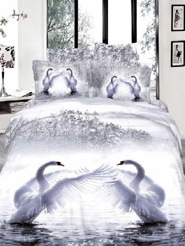 Комплект белья МарТекс Лебеди, семейный, наволочки 50х70, 70х70. 01-0269-401-0269-4