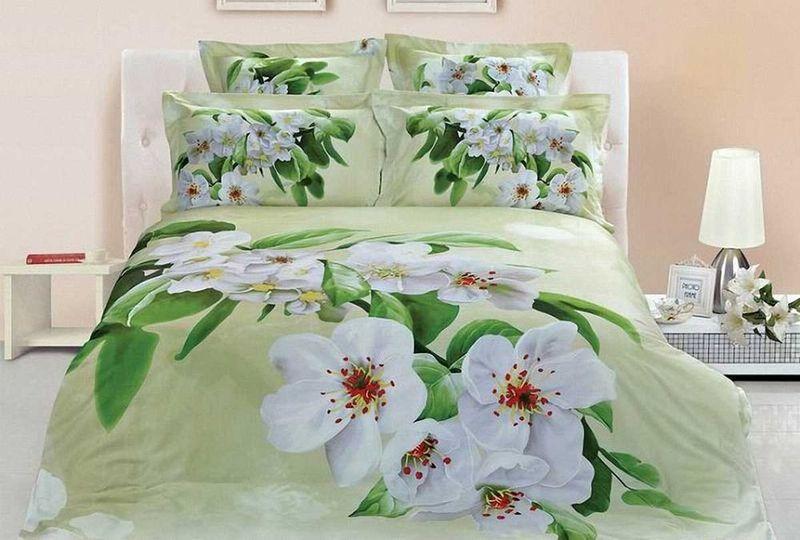 Комплект белья МарТекс Цветение, 1,5-спальный, наволочки 50х70. 01-0490-101-0490-1
