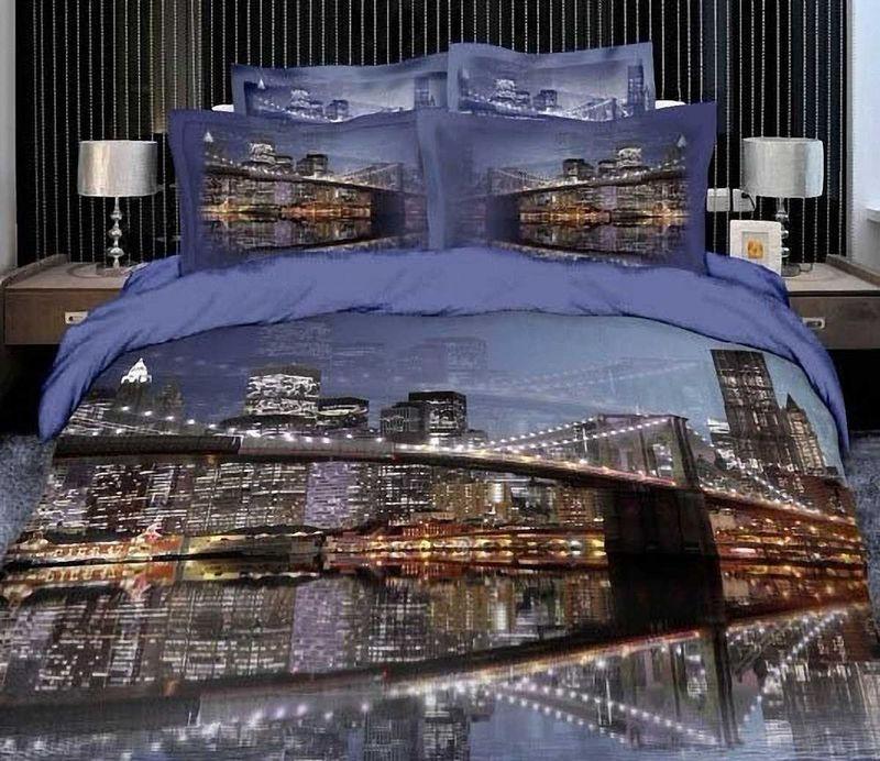Комплект белья МарТекс Ночной город, 1,5-спальный, наволочки 50х70. 01-0497-101-0497-1