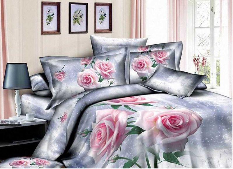 Комплект белья МарТекс Розовая роза, семейный, наволочки 50х70, 70х70. 01-0507-401-0507-4