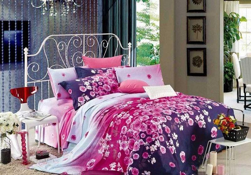 Комплект белья МарТекс Лаванда, 1,5-спальный, наволочки 50х70. 01-0518-101-0518-1