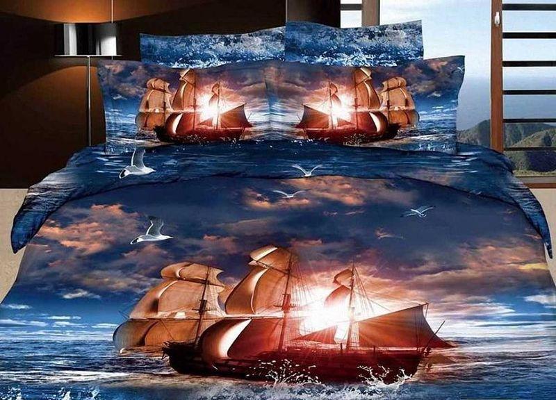 Комплект белья МарТекс Парусник, 2-спальный, наволочки 70х70. 01-0552-201-0552-2