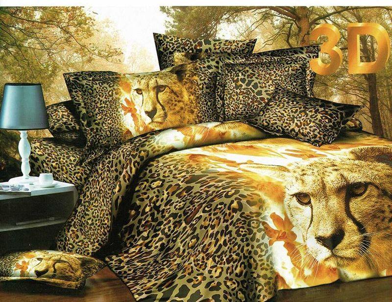Комплект белья МарТекс Леопард, евро, наволочки 50х70, 70х70. 01-0666-301-0666-3