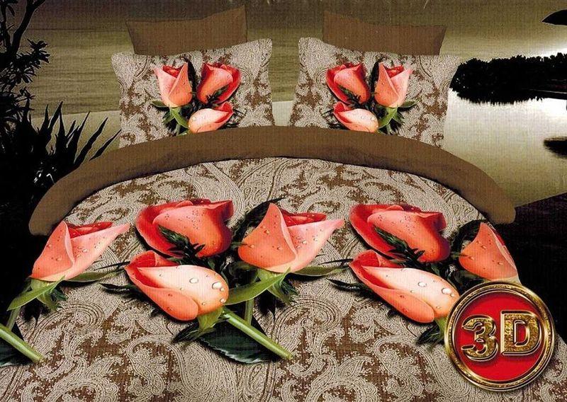 Комплект белья МарТекс Бутон, 2-спальный, наволочки 70х70. 01-1088-201-1088-2