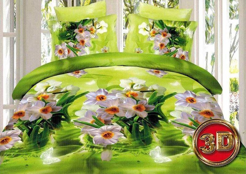 Комплект белья МарТекс Нарцис, 1,5-спальный, наволочки 70х70. 01-1272-101-1272-1