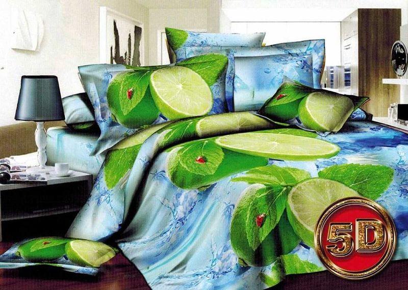Комплект белья МарТекс Лимон, 2-спальный, наволочки 70х70. 01-1273-201-1273-2